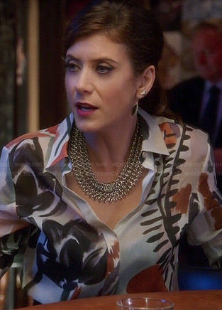 Rebecca's watercolor print blouse on Bad Judge