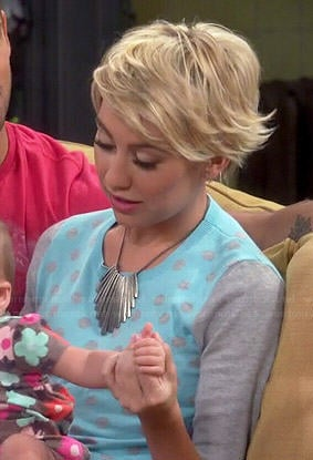 Riley's blue and grey polka dot sweater on Baby Daddy