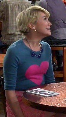 Riley's heart sweater and pink lace skirt on Baby Daddy
