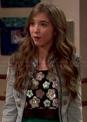 Riley's floral sequin top and denim military jacket on Girl Meets World