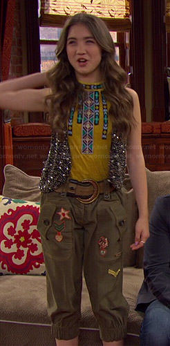 Riley's yellow beaded top, studded vest and fringed ankle boots on Girl Meets World