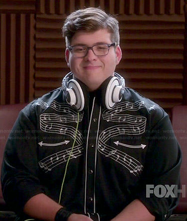 Roderick's black musical notes print shirt on Glee