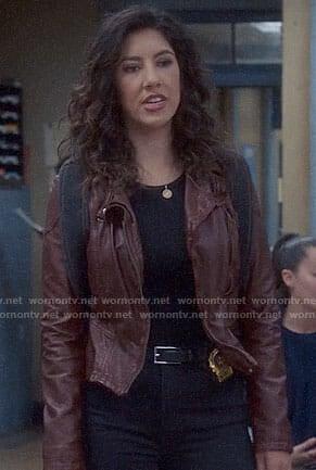 Rosa's dark red leather jacket with hood on Brooklyn Nine-Nine