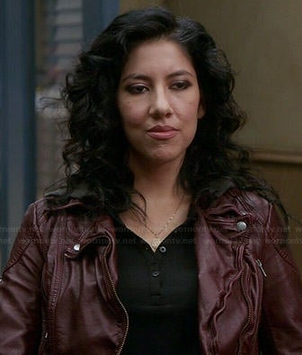 Rosa's burgundy leather jacket with hood on Brooklyn Nine-Nine