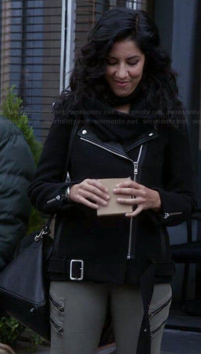 Rosa's black leather lapel moto jacket and zip front jeans on Brooklyn Nine-Nine