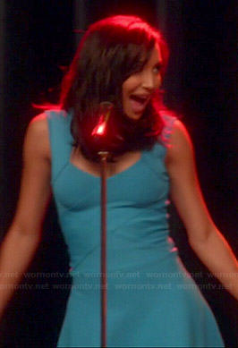 Santana's turquoise blue flared bandage dress on Glee