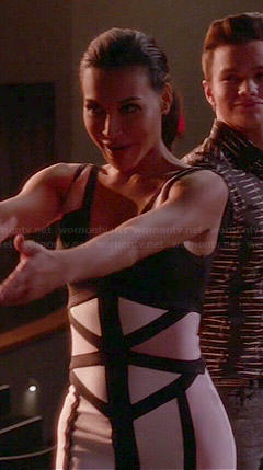 Santana's nude and black colorblock zip front dress on Glee