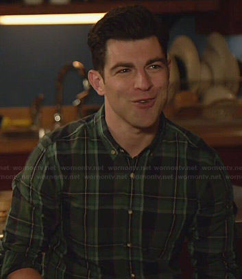 Schmidt's green plaid shirt on New Girl