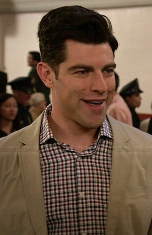 Schmidt's navy and red checked shirt on New Girl