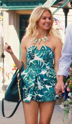 Shelby's tropical leaf printed romper on Hart of Dixie