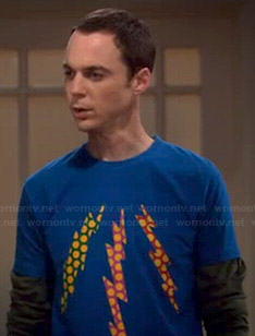 Sheldon's blue polka dot lightning bolt shirt on The Big Bang Theory