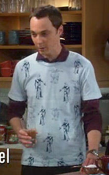 Sheldon's light blue robot covered shirt on The Big Bang Theory