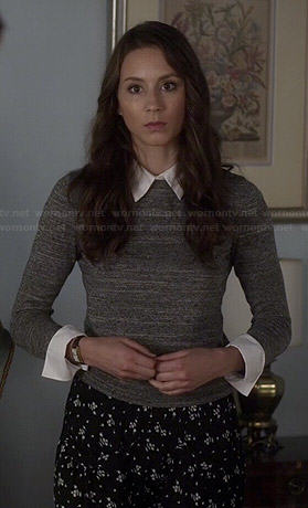 Spencer's grey sweater with white collar and black floral pants on Pretty Little Liars