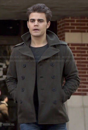 Stefan's olive green peacoat on The Vampire Diaries