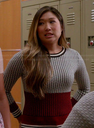Tina's black, white and red geometric print sweater on Glee