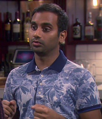 Tom's blue floral polo shirt on Parks and Recreation