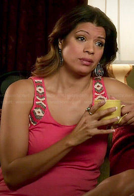 Xiomara's pink beaded tank top on Jane the Virgin