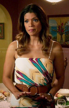 Jane's navy blue dress with white trim on Jane the Virgin