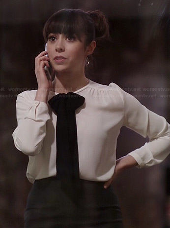 WornOnTV  Zelda s white blouse with black bow on A to Z  3be7221e3
