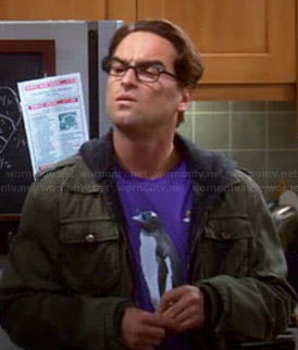 Leonard's purple penguins shirt on The Big Bang Theory