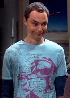 Sheldon's blue and purple graphic tee on The Big Bang Theory