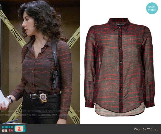 The Kooples Cotton-Silk Plaid Shirt worn by Rosa Diaz (Stephanie Beatriz) on Brooklyn Nine-Nine