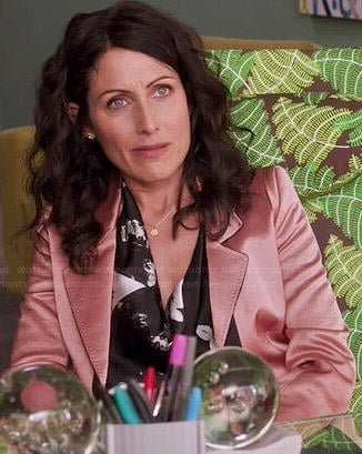 Abby's black and white printed blouse and pink blazer on Girlfriends Guide to Divorce