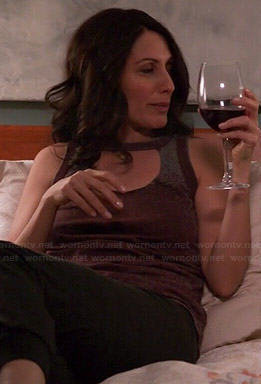 Abby's burgundy tee with front cutout on Girlfriends Guide to Divorce
