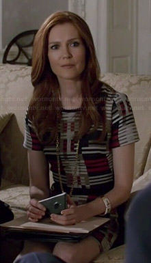 Abby's geometric stripe patterned dress on Scandal
