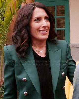 Abby's green double breasted blazer on Girlfriends Guide to Divorce