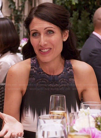 Abby's white printed dress on Girlfriends Guide to Divorce