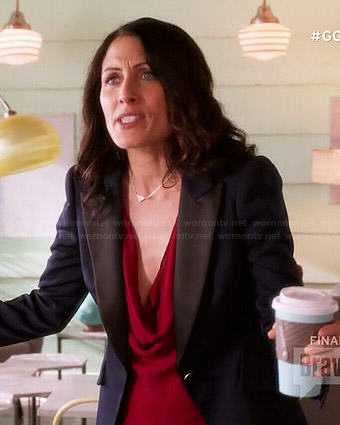Abby's red cowl neck top and navy blazer on Girlfriends Guide to Divorce