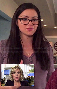 Alex's purple lace trim henley top on Modern Family