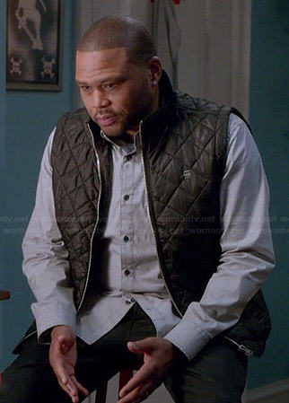 Andre's grey shirt and black quilted vest on Black-ish