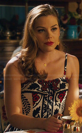 AnnaBeth's white, navy and red floral dress on Hart of Dixie