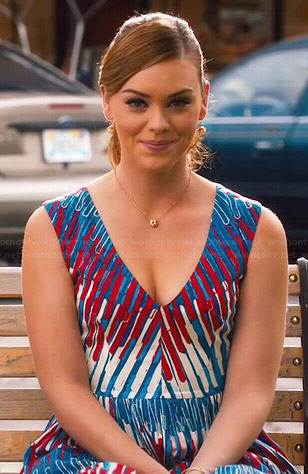 AnnaBeth's red, white and blue printed v-neck dress on Hart of Dixie