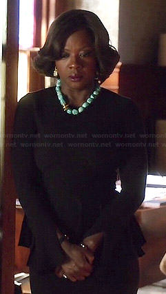 Annalise's black peplum sweater and turquoise necklace on How to Get Away with Murder