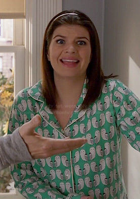 Annie's green owl print pajamas on Marry Me