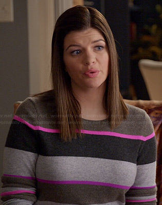 Annie's grey and pink striped sweater on Marry Me