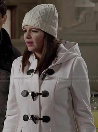 Annie's white hooded toggle coat on Marry Me