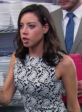 April's black and white lace dress with open back on Parks and Recreation