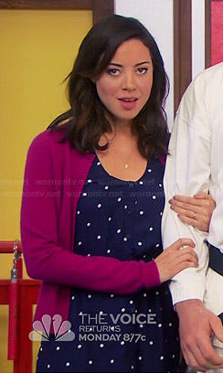 April's blue polka dot button-front dress on Parks and Recreation