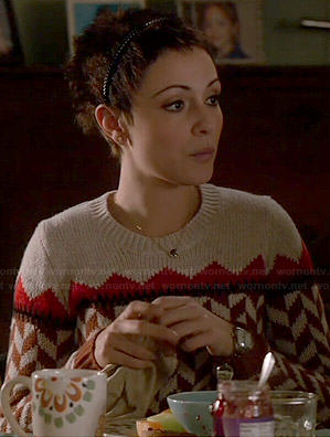April's brown geometric printed sweater on Chasing Life