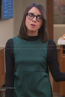 April's green shift dress and black long sleeve top on Parks and Recreation