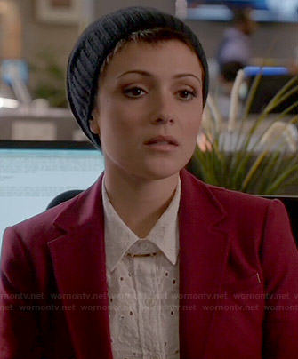 April's white floral eyelet shirt on Chasing Life