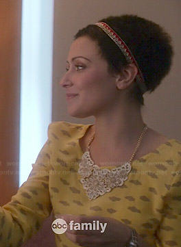 April's yellow cloud print top on Chasing Life