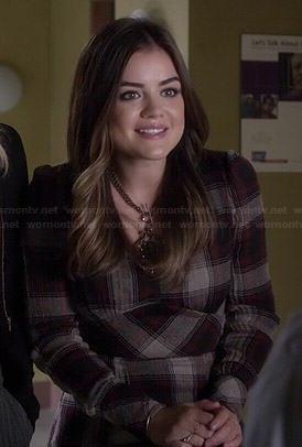 Aria's plaid long sleeve dress on Pretty Little Liars