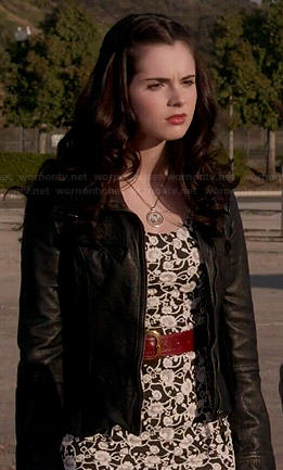 Bay's black and white floral dress and leather jacket on Switched at Birth