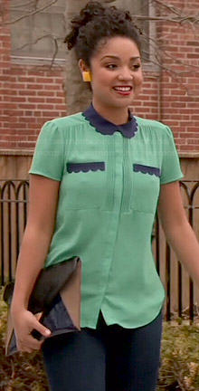 Beth's green top with blue scalloped collar on Chasing Life