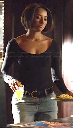 Bonnie's black scoop back top on The Vampire Diaries